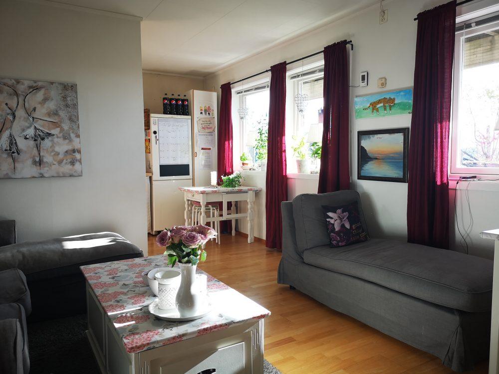 lappeteppet. lilla gardiner, rene vinduer, ryddig stue
